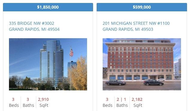 Grand Rapids Downtown Condo Listings February 2017